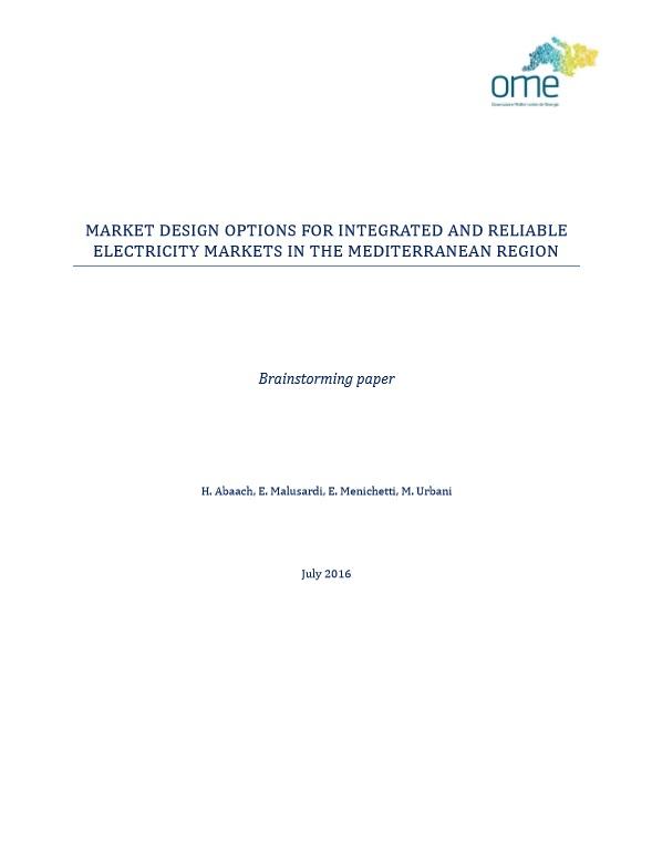 Market design options, July 2016